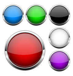glass buttons set shiny round colored 3d web vector image