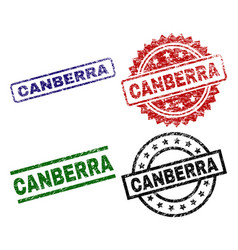 Grunge textured canberra seal stamps vector