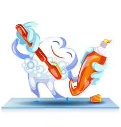 happy cleaning tooth concept background cartoon vector image