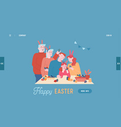 Happy family prepare for easter holiday vector