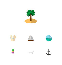 Icon flat season set of ice cream palm sea and vector