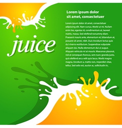 Juice fruit drops liquid orange green brochure vector