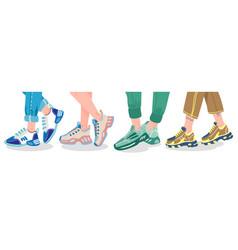 Legs in sneakers female or male wearing vector