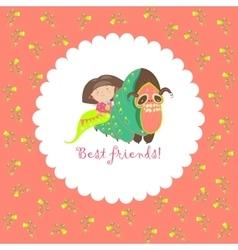 Little girl and her friend-caterpillar vector