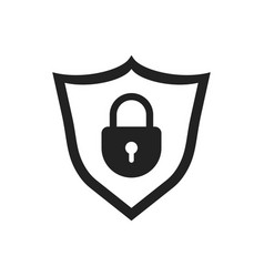 Lock with shield security icon on white vector