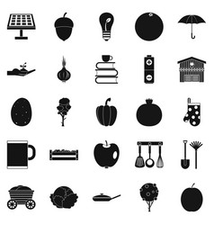 low-fat food icons set simple style vector image