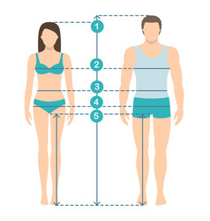 Man and women sizes measurements vector