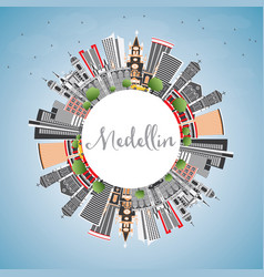 Medellin colombia city skyline with gray vector