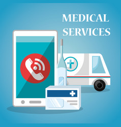 medical service on line with smartphone vector image