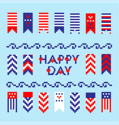 modern abstract set of memorial independence day vector image