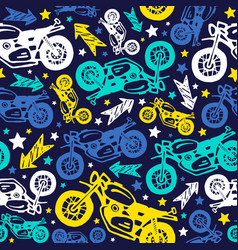 painted motorcycles seamless pattern vector image