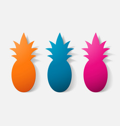 Paper clipped sticker fruit pineapple vector