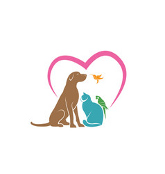 Parrot cat dog and hummingbird with pink heart vector