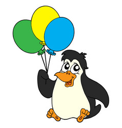 Penguin with balloons vector