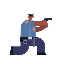 police officer standing with pistol african vector image