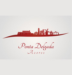 Ponta delgada skyline in red vector