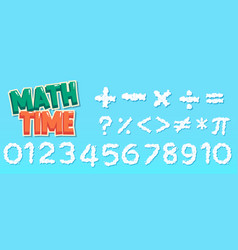 Poster design for math with numbers and signs vector