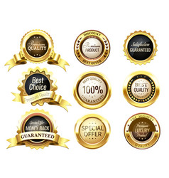 Realistic golden labels elegant best price banner vector