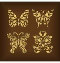 Retro set floral butterfly background vector image