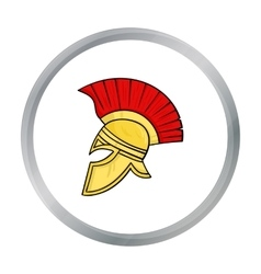 Roman soldier s helmet icon in cartoon style vector image