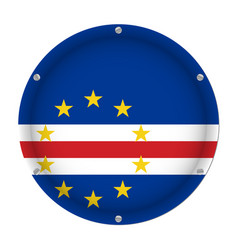 Round metallic flag of cape verde with screws vector