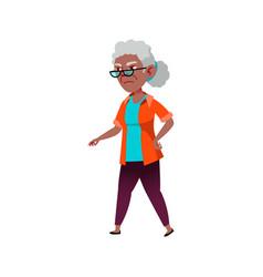 Sad granny searching kids on playground cartoon vector