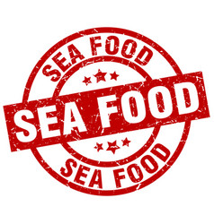 Sea food round red grunge stamp vector