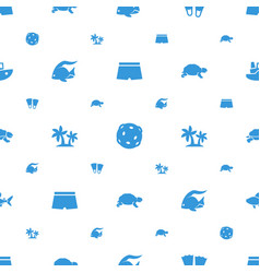 Sea icons pattern seamless white background vector