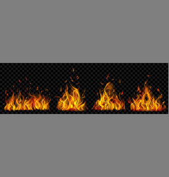set burning campfires vector image