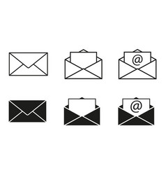 set envelopes icons email vector image