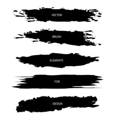 set of black textured brush strokes isolated on vector image