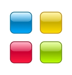 Set of square rounded web buttons with outlines vector