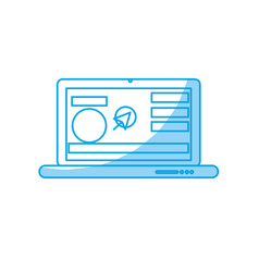 Silhouette laptop with business website and arrow vector