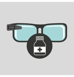 Smart glasses connected bottle capsule vector
