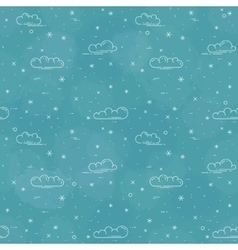 Snow and clouds pattern on blue background vector image