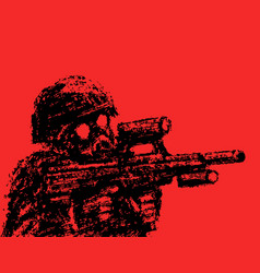 soldier in helmet and gas mask aiming from vector image