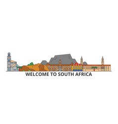South africa outline skyline african flat thin vector