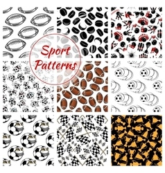 Sport seamless patterns set of balls vector image