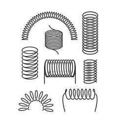 spring metal set twisted spiral semicircular coil vector image