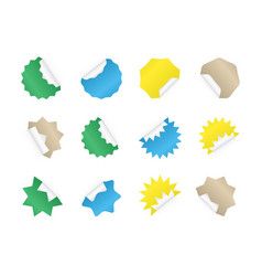 starburst sticker set blank colorful sunburst vector image