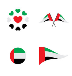 Stationery elements collection with flag vector