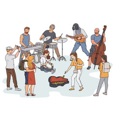 Street orchestra - cartoon people playing musical vector