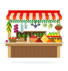Street wooden vegetable kiosk flat material design vector