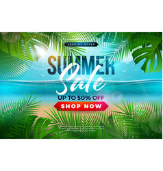 summer sale design with palm leaves and typography vector image