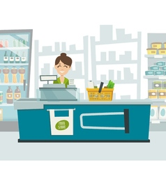 Supermarket cashier within shop interior cartoon vector image
