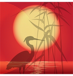 The hunting heron vector image