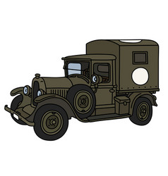 The vintage military ambulance vector
