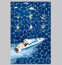 top view speed boat on water poster vector image