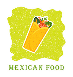traditional mexican burrito spicy delicious vector image