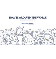 Traveling the world doodle concept vector